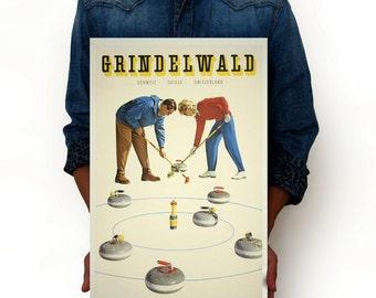 "Grindelwald Schweiz Suisse Switzerland Curling Vintage Poster, Art Print, Art Posters, Minimalist Art Advertising Vintage Poster 13"" x 19"""