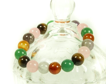 Multi-stone stretch gemstone bracelet.