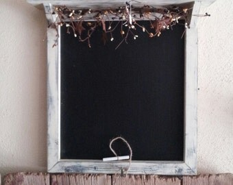 Primitive Chalkboard Hanging with Berry Garland and Shelf.