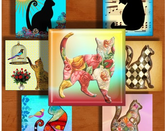 Colorful Cats - One Inch Square Digital Collage Sheet for pendants, magnets,  paper crafts