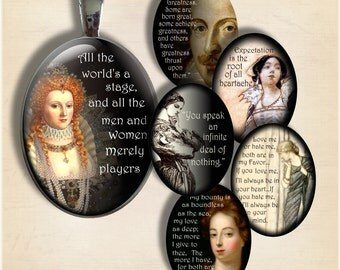 Shakespeare Quotes - Large  Oval 30 x 40 mm Digital Collage Sheet