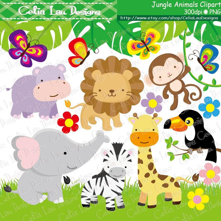Jungle Animals Clipart Baby Jungle Animals Clipart / Safari