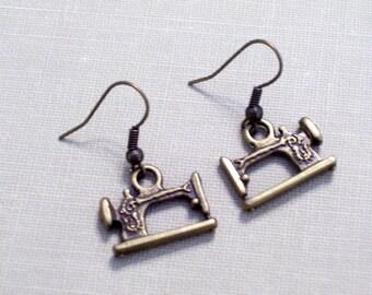 Antiqued Brass Sewing Machine Earrings, Seamstress Jewelry, Bronze Pierced Dangle Earrings