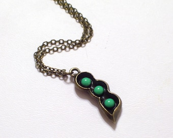 Antiqued Brass Pea Pod Pendant Necklace, Green Enamel Bronze Vegetable Jewelry, New Baby, New Mom, Family Addition