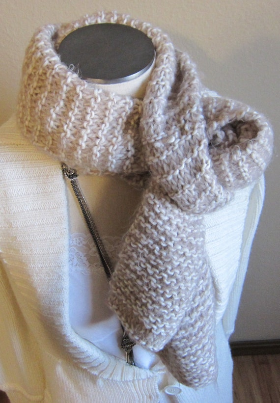 Knitted Scarf made with Soft Angel Hair Yarn in Brown and