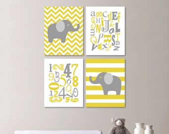 Baby Nursery Art Print - Elephant Nursery Prints - Alphabet Nursery Prints - Nursery Decor - Mustard Yellow Gray -You Pick the Size (NS-488)