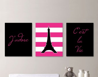 Baby Girl Nursery Print - Black and Pink Art - Nursery Art - Paris Nursery - Paris Nursery Print - Eiffel Tower - You Pick the Size(NS-527)