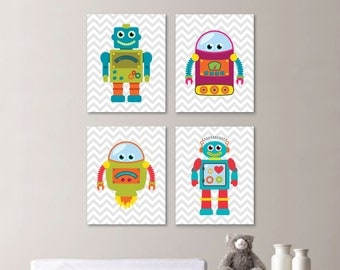 Baby Boy Nursery Art Print - Chevron Robot Nursery Prints - Robot Nursery Prints Bedroom Art Nursery Decor - Robot Bathroom Art (NS-667)