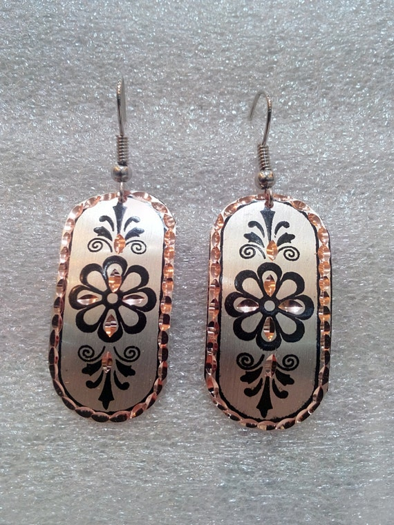 Made in Turkey Hand Made Authentic / Tribal Hand Painted Naturel Copper Earring Code: 022