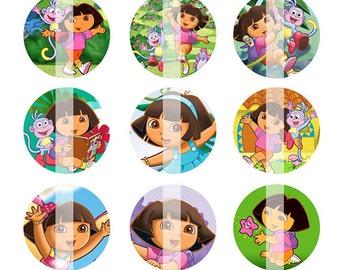 INSTANT DOWNLOAD - Dora the Explorer inspired 4x6 One Inch Digital Bottle Cap Images