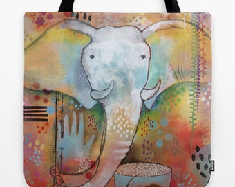 Elephant Tote, Elephant Grocery Bag, Elephant Bag, Unique Shoulder Bag, Unique Colorful Tote, Large Market Bag, Market Tote, Elephant