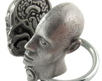 Anatomical Human Head Keychain - Medical Anatomy Keychain, Brain
