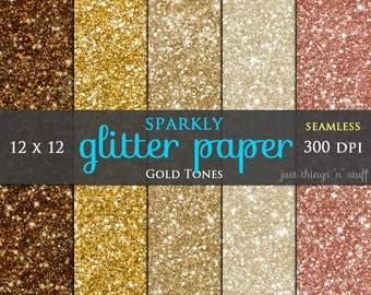 "Digital Glitter Paper ""GOLD GLITTER"" Seamless Background Digital Glitter Paper Texture Glitter Clipart Glitter Sparkle Paper"
