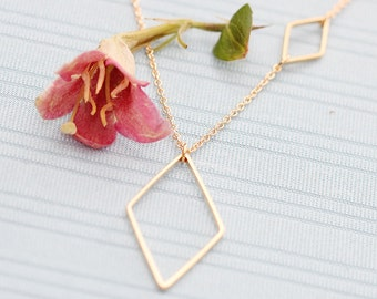 Gold Plated, Simple Small and Large Diamond Shaped Charm, Color is Your Choice, Necklace