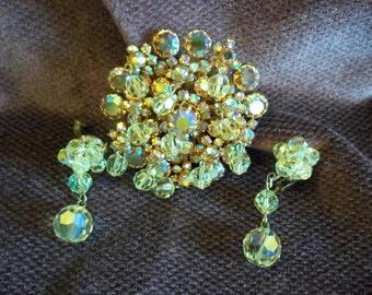 Gold Tone Aurora Borealis Crystal Brooch Pin and Earrings Set