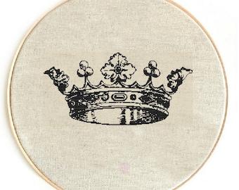 Сross stitch pattern PDF / JPEG Instant Download, Free shipping, vintage crown cross stitch pattern