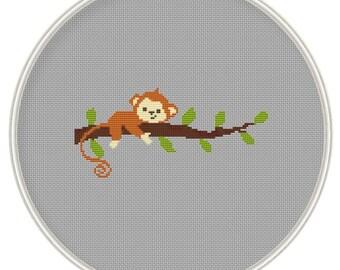 Сross stitch pattern, Monkey on tree, cross stitch pattern in PDF format, Instant Download, needlepoin