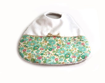 Bib liberty turquoise betsy white satin and Gold piping