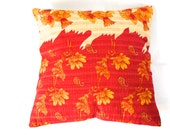One of a Kind - Kantha Decorative Pillow Cover -18x18 - Throw Pillow, Accent Pillow, Toss Pillow - Orange