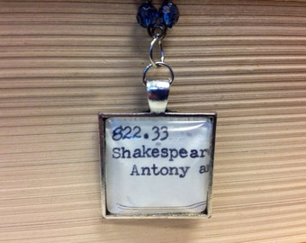 Library Card Catalog Literature Pendant Necklace Shakespeare Antony and Cleopatra Teacher Student Academic with Blue Flower Accents