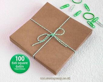 100 Kraft Envelope, Greeting Card Envelope, 155x155mm -  6 1/4in square, Triangular Flap, Gummed, Ribbed Brown, 110gsm, 100% recycled PSS022