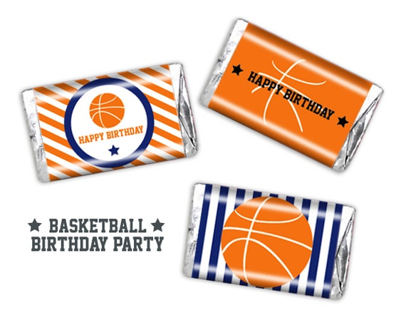 Basketball Party Mini Candy Bar Wrappers Printable Instant Download
