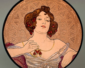 Mucha, Ruby, Mucha kilnfired glass medallion, Mucha stained glass, Mucha suncatcher, Mucha kilnfired stained glass, Mucha, Mucha vitrail