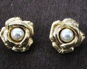 Vintage gold  rose with pearl clip on earrings.