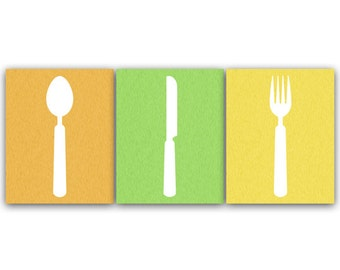 Home Decor Wall Art, Utensil Art Print, Bright Color Kitchen Art, Fork and Spoon Wall Decor, Kitchen Wall Decor, Kitchen Decor - HOME60