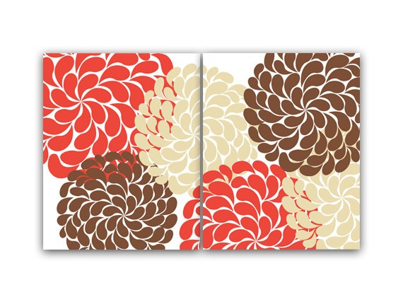 Bedroom Decor Coral home decor wall art coral and brown flower burst art