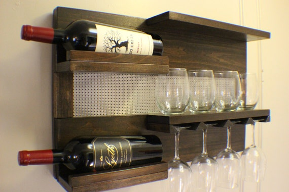 kona and chrome wall mounted wine rack with shelves and. Black Bedroom Furniture Sets. Home Design Ideas