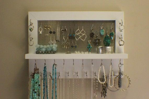 Like this item? - Beautiful Painted White Wall Mounted Jewelry Organizer Wall
