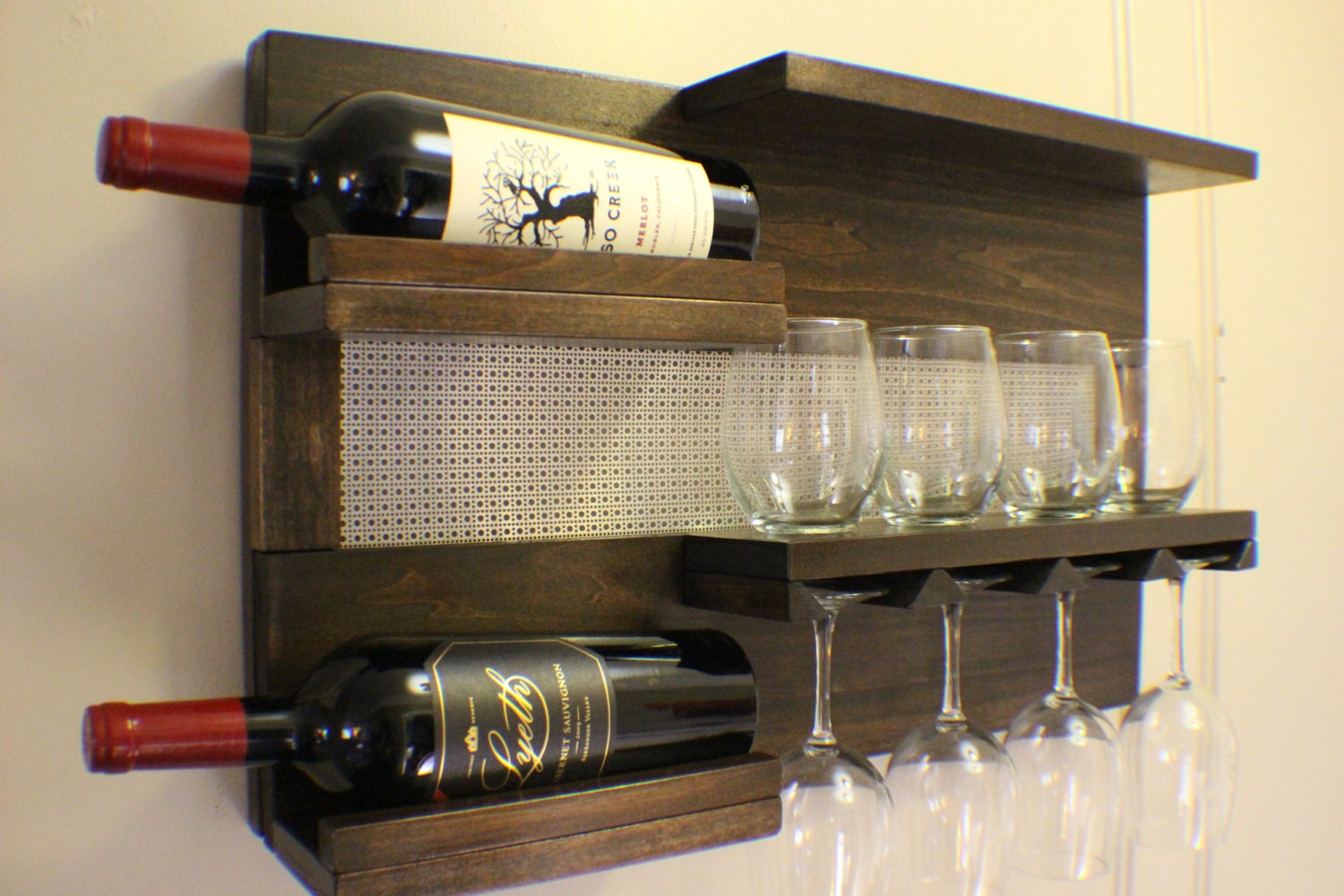 kona and chrome wall mounted wine rack with by theknottyshelf. Black Bedroom Furniture Sets. Home Design Ideas