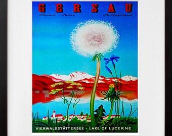 Art Swiss Travel Poster Switzerland Vintage Print (ZT177)