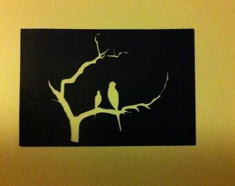 Metal Love Birds on Branch Wall Art