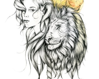 Original Girl And Lion Drawing