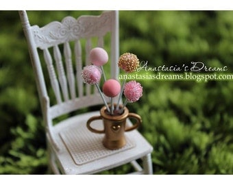 Dollhouse Miniature cake pops with adorable icing in 1/12 scale