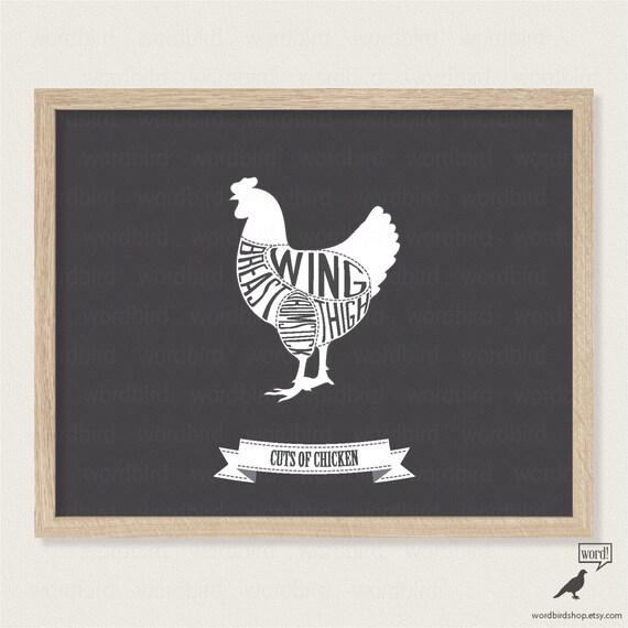 Schwarz und weiß küche dekor print küche wand von wordbirdshop