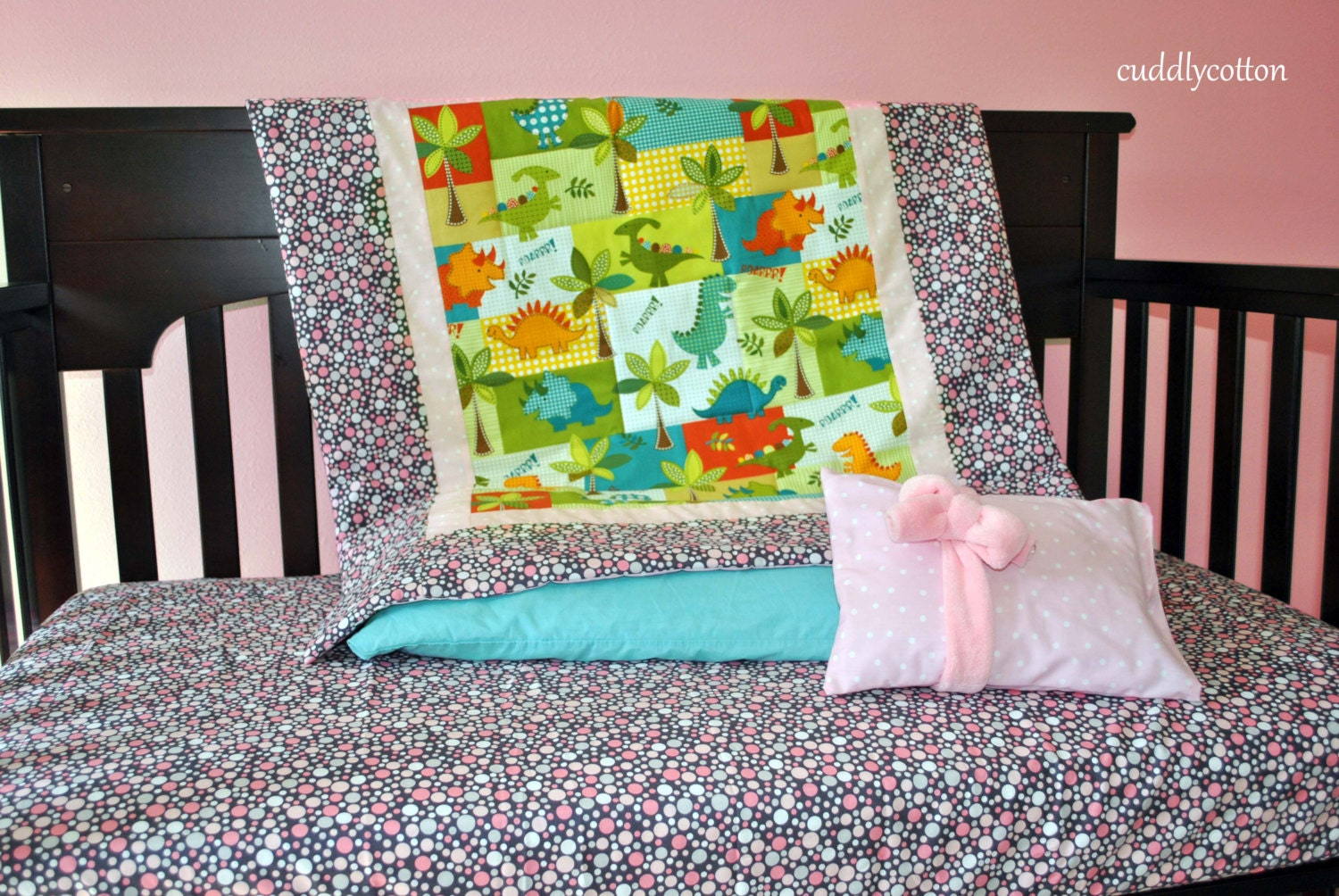 Dinosaur Pink Crib Bedding Set Designer Michael By