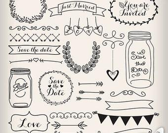 Wedding Laurel Clipart, Wedding Invitation Digital, Vintage Bridal Clipart,  Jar, Banner,