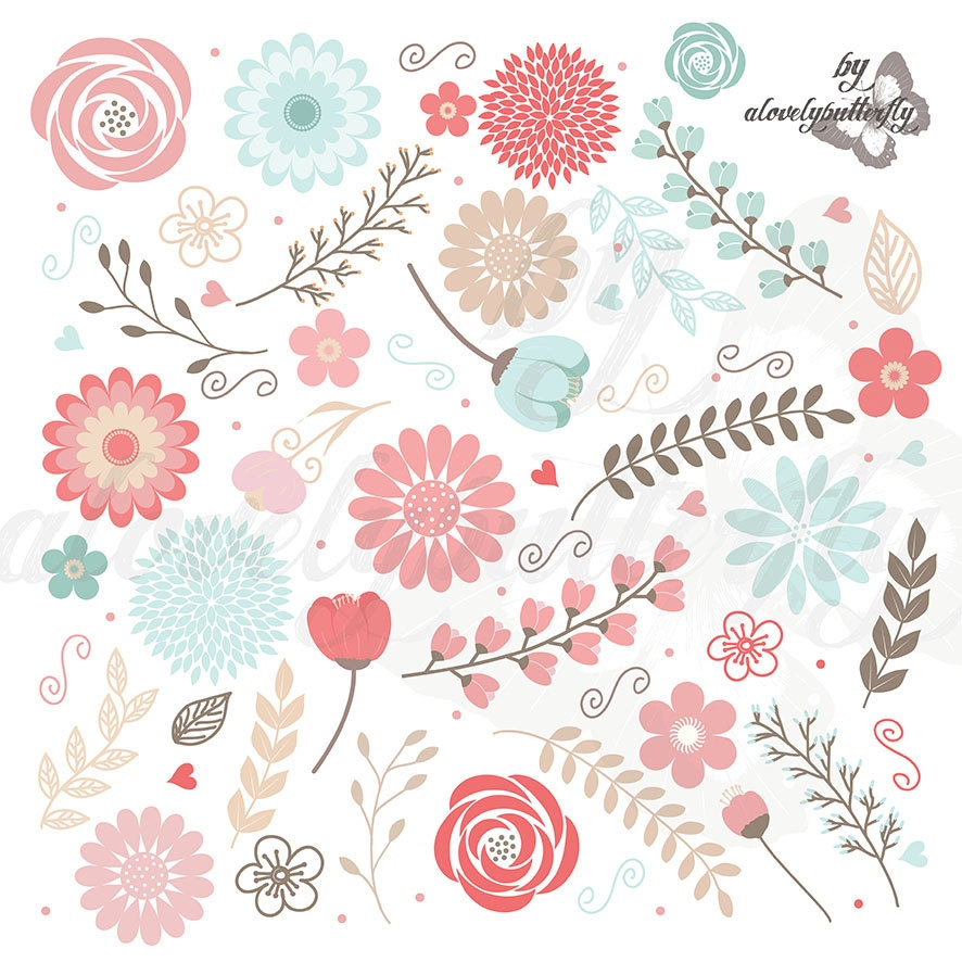 Wedding Flower Clipart Floral Clipart Rose Blush Red Flower