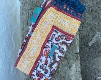 Beach towel with block print pareo