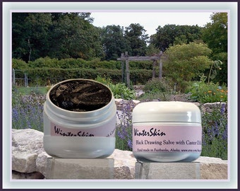 Black Drawing Salve with Castor Oil, Comfrey, Plantain, Calendula, Activated Charcoal, for Insect Bites