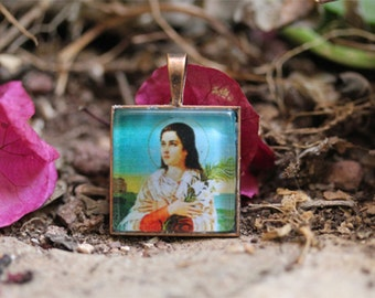 St. Maria Goretti Catholic Medal Pendant / Charm Cabochon with Glass Dome