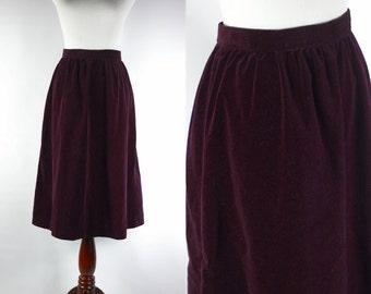 Pansy Purple Velvet High-waisted Skirt -- Sz Med