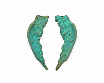 Large Patina Wing Pendants, Wing Pendants, Brass Charm Findings, 1 pair