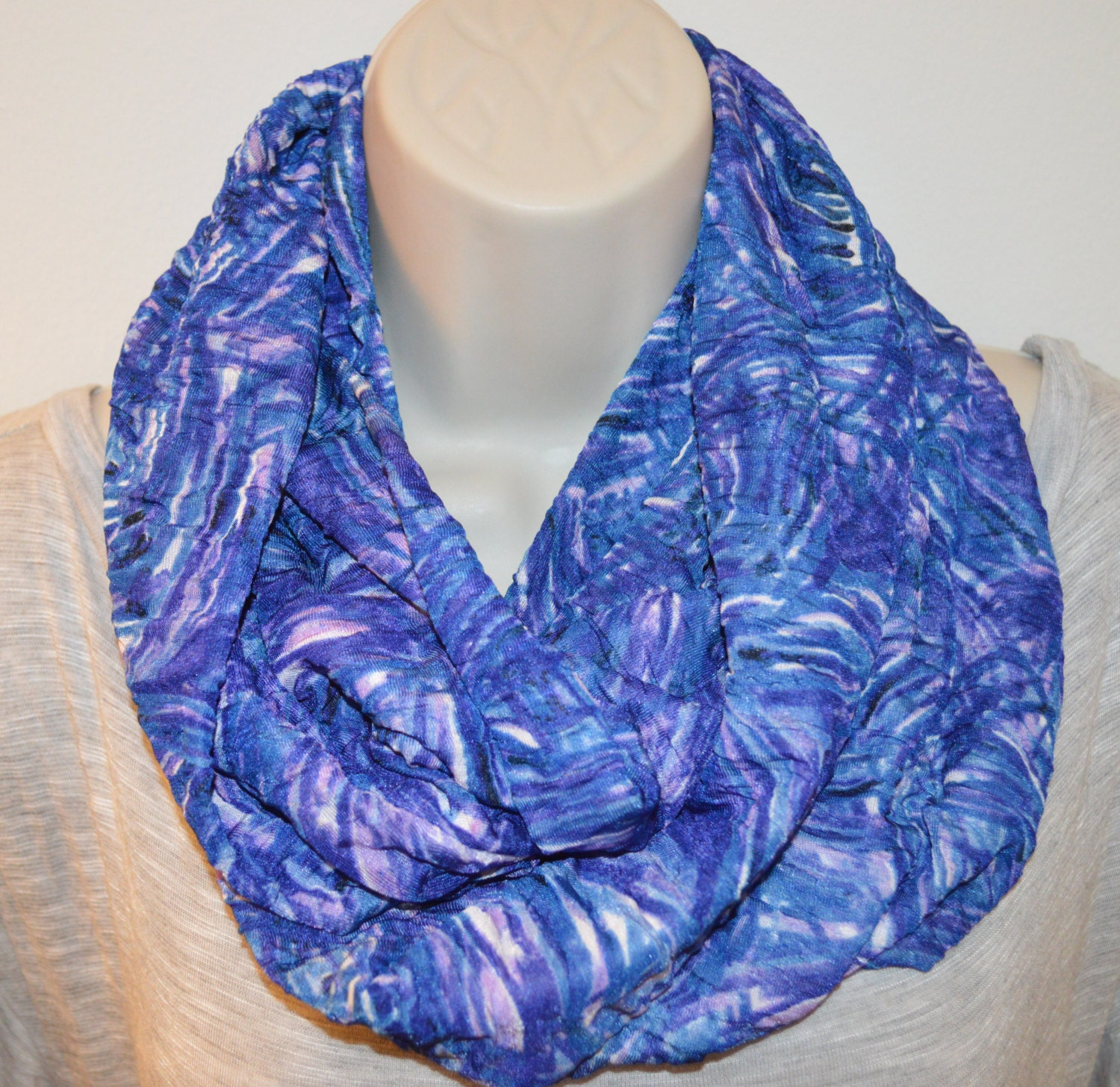 purple blue tones printed fabric infinity scarf