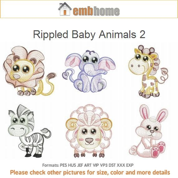 Rippled baby animals quilt machine embroidery designs