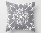 Geometric Mandala Pillow Cover - Slate Grey - Neutral Modern Home Decor - Medallion Accent Pillow - Decorative Pillow - By Aldari Home