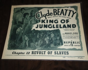 Original 1949 King Of Jungleland Darkest Africa Lobby Card Movie Poster Clyde Beatty Chapter 12 Revolt Of Slaves